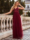 Women'S A-Line V-Neck Floral Lace Appliques Bridesmaid Dress-Burgundy 4