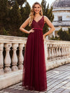 Women'S A-Line V-Neck Floral Lace Appliques Bridesmaid Dress-Burgundy 1