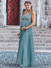 Women'S A-Line V-Neck Floral Lace Appliques Bridesmaid Dress-Dusty Blue 9