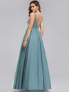Women'S A-Line V-Neck Floral Lace Appliques Bridesmaid Dress-Dusty Blue 15