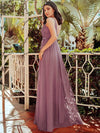 Women'S A-Line V-Neck Floral Lace Appliques Bridesmaid Dress-Purple Orchid 2