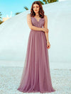 Women'S A-Line V-Neck Floral Lace Appliques Bridesmaid Dress-Purple Orchid 3