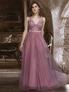 Women'S A-Line V-Neck Floral Lace Appliques Bridesmaid Dress-Purple Orchid 4