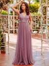 Women'S A-Line V-Neck Floral Lace Appliques Bridesmaid Dress-Purple Orchid 1