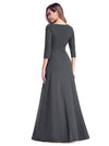 Women'S V-Neck Wrap 3/4 Sleeve Floor-Length Evening Dress-Deep Grey 2