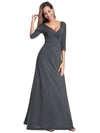 Women'S V-Neck Wrap 3/4 Sleeve Floor-Length Evening Dress-Deep Grey 3