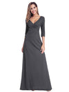 Women'S V-Neck Wrap 3/4 Sleeve Floor-Length Evening Dress-Deep Grey 1
