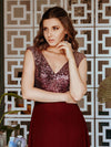 V Neck Sleeveless Floor Length Sequin Party Dress-Burgundy 7