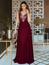 V Neck Sleeveless Floor Length Sequin Party Dress-Burgundy 9