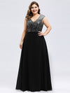 V Neck Sleeveless Floor Length Sequin Party Dress-Black 8