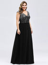 V Neck Sleeveless Floor Length Sequin Party Dress-Black 9