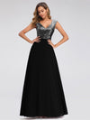 V Neck Sleeveless Floor Length Sequin Party Dress-Black 4