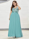 Plus Size V Neck Sleeveless Floor Length Sequin Party Dress-Dusty Blue 3