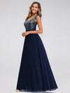 V Neck Sleeveless Floor Length Sequin Party Dress-Navy Blue 3