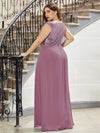 Plus Size V Neck Sleeveless Floor Length Sequin Party Dress-Purple Orchid 2
