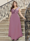 Plus Size V Neck Sleeveless Floor Length Sequin Party Dress-Purple Orchid 4
