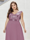 Plus Size V Neck Sleeveless Floor Length Sequin Party Dress-Purple Orchid 5
