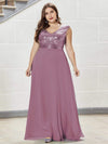 Plus Size V Neck Sleeveless Floor Length Sequin Party Dress-Purple Orchid 1