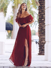 Women'S A-Line Off Shoulder Ruffle Thigh Split Bridesmaid Dress-Burgundy 1