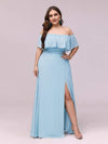 Women'S A-Line Off Shoulder Ruffle Thigh Split Bridesmaid Dress-Sky Blue 6