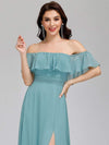 Women'S A-Line Off Shoulder Ruffle Thigh Split Bridesmaid Dress-Dusty Blue 10