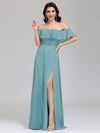 Women'S A-Line Off Shoulder Ruffle Thigh Split Bridesmaid Dress-Dusty Blue 6