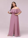 Women'S A-Line Off Shoulder Ruffle Thigh Split Bridesmaid Dress-Purple Orchid 12
