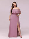 Women'S A-Line Off Shoulder Ruffle Thigh Split Bridesmaid Dress-Purple Orchid 11