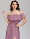 Women'S A-Line Off Shoulder Ruffle Thigh Split Bridesmaid Dress-Purple Orchid 10