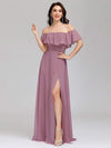 Women'S A-Line Off Shoulder Ruffle Thigh Split Bridesmaid Dress-Purple Orchid 6