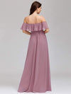 Women'S A-Line Off Shoulder Ruffle Thigh Split Bridesmaid Dress-Purple Orchid 7