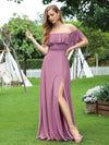 Women'S A-Line Off Shoulder Ruffle Thigh Split Bridesmaid Dress-Purple Orchid 1