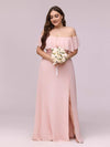 Women'S A-Line Off Shoulder Ruffle Thigh Split Bridesmaid Dress-Pink 10