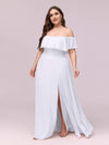 Women'S A-Line Off Shoulder Ruffle Thigh Split Bridesmaid Dress-White 6