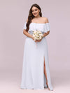 Women'S A-Line Off Shoulder Ruffle Thigh Split Bridesmaid Dress-White 7