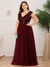 Deep V Neck Floor Length Sequin Cocktail Dress-Burgundy 8