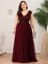 Deep V Neck Floor Length Sequin Cocktail Dress-Burgundy 6