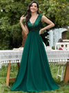 Deep V Neck Floor Length Sequin Cocktail Dress-Dark Green
