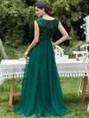 Deep V Neck Floor Length Sequin Cocktail Dress-Dark Green 2