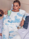 Feminine Tie-Dye Loungewear Track Suit For Sports-Sky Blue 2