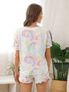 Comfy Casual Tie-dye Short Sleeve Pajamas Suit for Women-Multicolor 2