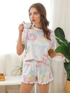 Comfy Casual Tie-dye Short Sleeve Pajamas Suit for Women-Multicolor 4