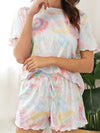 Comfy Casual Tie-dye Short Sleeve Pajamas Suit for Women-Multicolor 5
