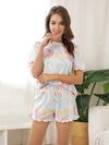 Comfy Casual Tie-dye Short Sleeve Pajamas Suit for Women-Multicolor 1