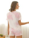 Comfy Casual Tie-dye Short Sleeve Pajamas Suit for Women-Pink 1