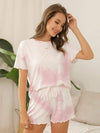 Comfy Casual Tie-dye Short Sleeve Pajamas Suit for Women-Pink 2