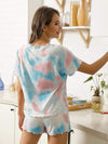 Casual Round Neck Tie-dye Loungewear Set Pajamas-Light Blue 2