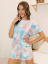 Casual Round Neck Tie-dye Loungewear Set Pajamas-Light Blue 1