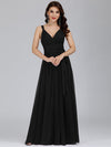 Floor Length V Neck Evening Gown-Black 1