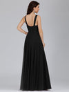 Floor Length V Neck Evening Gown-Black 2